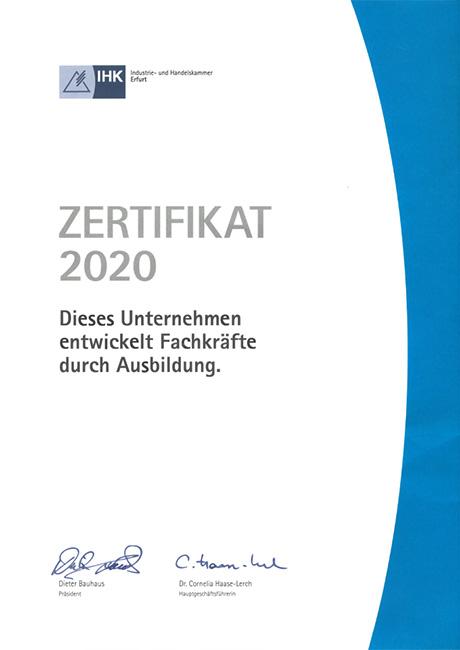 IHK Ausbildungszertifikat 2020